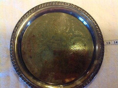 """Vintage Leonard Silverplate Etched Serving Tray 12 1/4"""""""