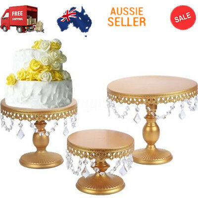 "Cake Stand w/ Crystals 8"" 10"" 12"" Round Metal Wedding Party Display Tower Decor"