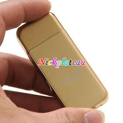 Slim Refillable Flint Butane Gas Windproof Jet Flame Cigarette Lighter Golden