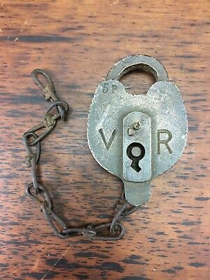 Rare Antique Victorian Railways Vr 5P Bronze Padlock Newport Workshop Railroad