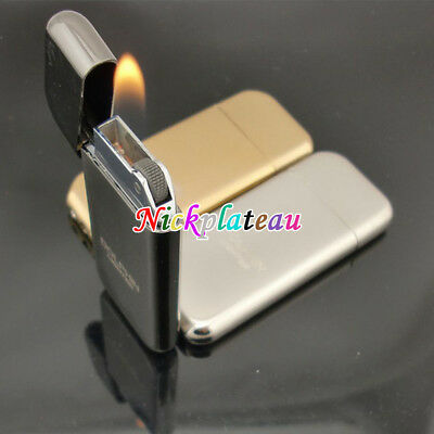 Slim Refillable Flint Butane Gas Windproof Jet Flame Cigarette Lighter Silver