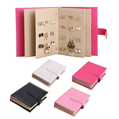 Portable PU Leather Earrings Organizer Book Travel Jewelry Holder Display Box OZ