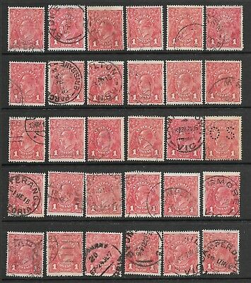 KGV    1d  RED  SINGLE WMK    ROUGH PAPER   30 STAMPS  some mixed condition