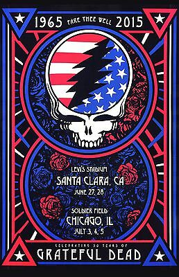 Grateful Dead Tour Poster Premium Glossy Fare Thee Well 1965 2015 01 Santa Clara