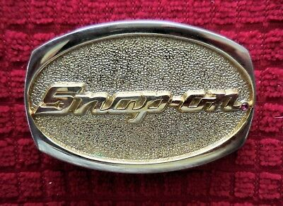 RARE - Vintage SNAP-ON Tools Chrome on Solid Brass Belt Buckle w/ Ruby Red Stone