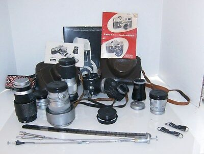 Vtg LOT LEICA M3 Cameras 1961-65 cases lenses Range Finder 2 SLR Summicron 50mm+