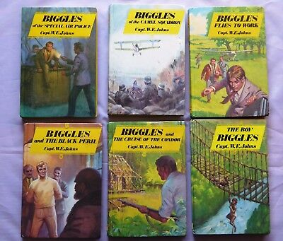 Vintage Collection of Six Biggles Books by Cpt W. E. John