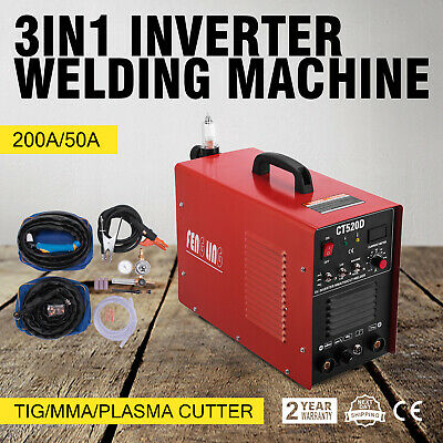 CT520D Plasma Cutter Tig Stick Welder 3 in 1 Combo Welding Machine, 50Amp
