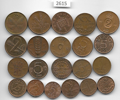 World x 21 Mixed Small Bronze Coins