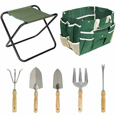 7PCS Garden Tool Bag Set Folding Stool Seat Tools Gardening Stainless Steel Gift