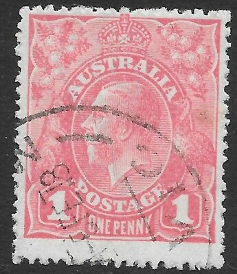 KGV   1d  PALE RED  SINGLE WMK   NOTCH IN LOWER RIGHT FRAME