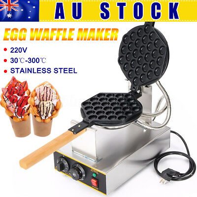 AU 220V Waffle Electric QQ Egg Cake Oven Puff Bread Stainless Steel Non-stick