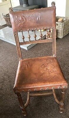 ANTIQUE French Henry II Chair With Nailed Embossed Leather