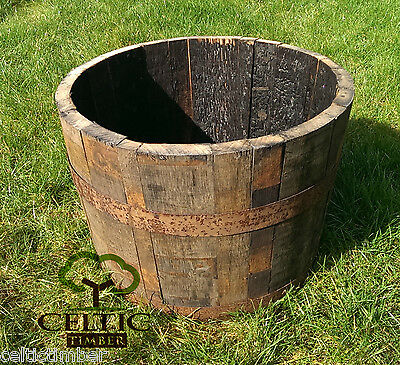Oak Whiskey half barrel planter, small garden flowers, plant pot - FREE DELIVERY