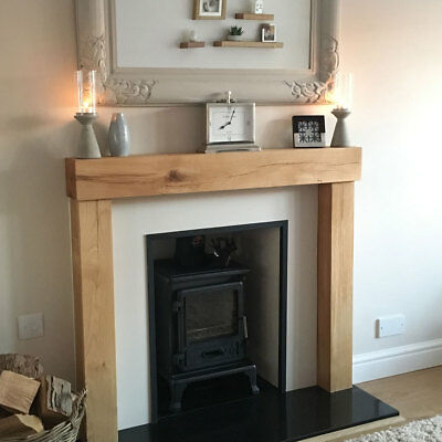 Solid Oak Beam Fire Surround - Wooden Fireplace Surround - Mantel and Upstands