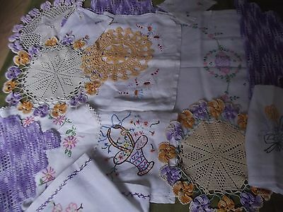 job lot of vintage linens and doilies