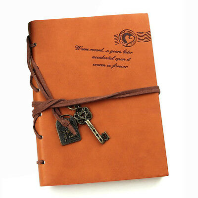 Classic Retro Leather Bound Blank Pages Journal Diary Notepad Notebook Orange WS