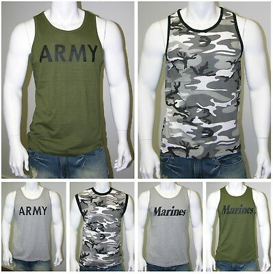 MENS Army GYM Training Boot Camp Camouflage TANK Singlet Tee T-Shirt