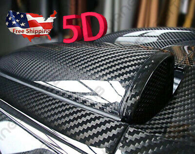 "5D Ultra Gloss Glossy Black Carbon Fiber Vinyl Wrap Sticker Decal 12x60"" US Ship"