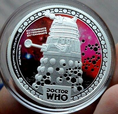 2014 $1 Silver Proof  Doctor Who Monsters Daleks 1/2oz  Niue Coin dollar