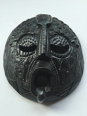 Tribal Mask Finely Detailed Ashanti Tribe African Carved Wood Masks
