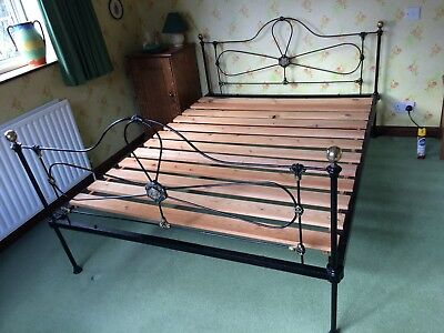 Antique Victorian King Size  Metal And Cast Iron Bed Frame With Brass Balls