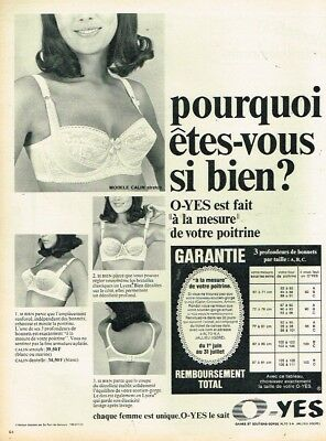 I- PUBLICITÉ ADVERTISING 1967 Lingerie soutien gorge O-Yes - EUR 3 ... 12ef439762d