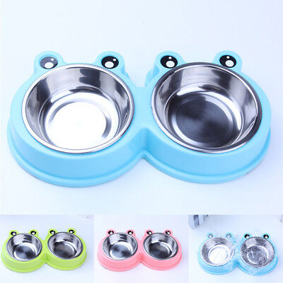 Pet Dog Cat Supplies Food Water Double Stainless Steel Bowl Feed Dishing Feeder