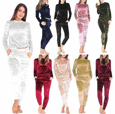 Ladies Crushed Velour Velvet Lounge Wear Tracksuit Womens Long Sleeve Jumpsuit