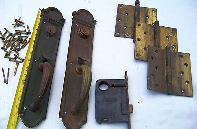 Antique Heavy Brass Entry Door Russwin  Lock Set Thumb Latch Handles Complete