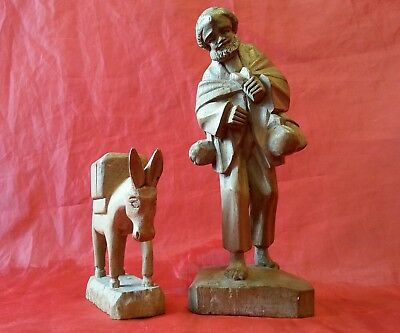 HAND CARVED WOOD FOLK ART FIGURINES x 2 OLD MaN AND a DONKEY