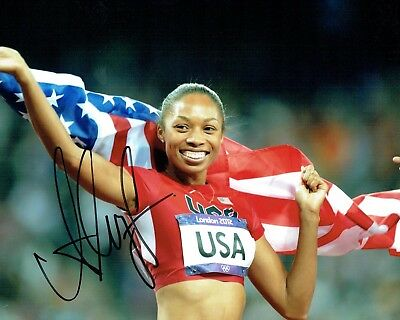 Allyson FELIX Autograph 10x8 Signed Photo B AFTAL COA USA Athlete Gold Medal