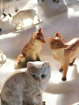 VINTAGE LOT OF MINIATURE ANIMAL FIGURINES ~porcelain,resin dogs cats fox more