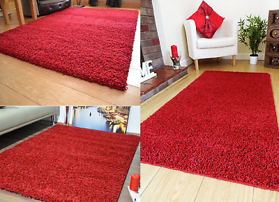 Shaggy Rug Area Dining Room Carpet Floor Mat Home Bedroom 5cm Thick Plain Red