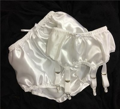 White Satin Panties & Suspender/Garter Set