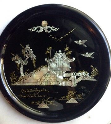 "Vintage 12"" Oriental Black Wood Lacquer Tray Mother Of Pearl Inlay HANOI Pagoda"