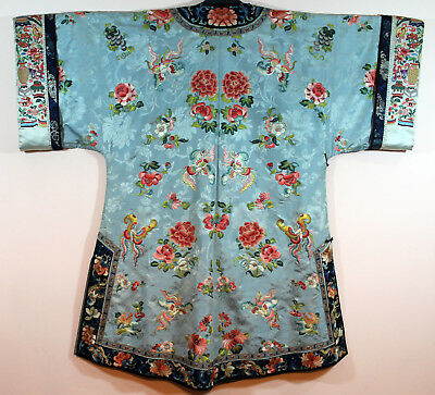 Rare Chinese 19Th C Embroidered Lady's Silk Robe, Qing Dynasty Embroidery Kimono