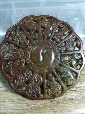 Old China Hand-carved jade belt buckle worn aristocratic art collection  a64