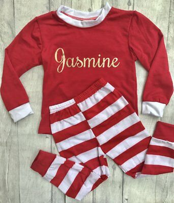PERSONALISED CHRISTMAS PYJAMAS GIFT, Red and White PJs with Gold Glitter Name