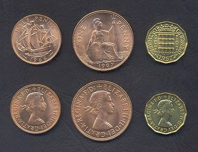 GREAT BRITAIN UK COIN SET 1/2 Half +1 Penny +3 Pence 1967 UNC PRE DECIMAL LOTof3