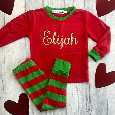 PERSONALISED CHRISTMAS PYJAMAS GIFT, Red and Green PJs with Gold Glitter Name