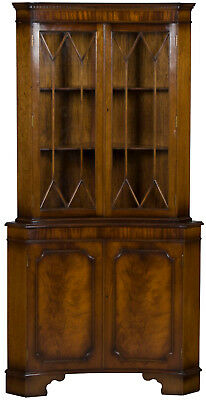 Vintage Antique Style Inverted Bow Front Mahogany Corner Cabinet Double Door