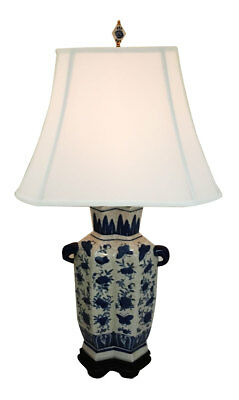 Oriental Blue and Antique White Hand-Painted Butterflies Porcelain Table Lamp