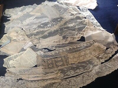antique vintage French  lace job lot oddments and small antique top
