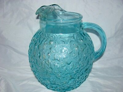 Vtg Pressed Glass Pitcher Blue Green Water Iced Tea Juice 3D Raised