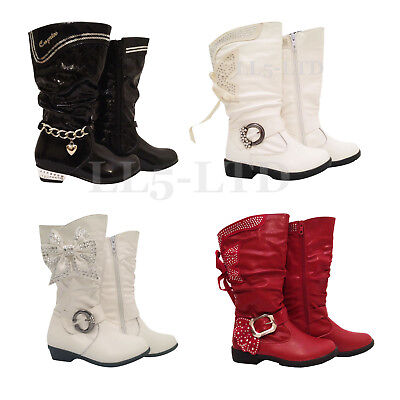 GIRLS KIDS CHILDREN ZIPPER KIDS FANCY PARTY LONG BOOTS Size 7-11
