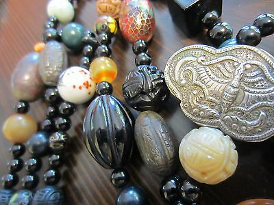 """RARE Antique Chinese Sterling Butterfly Bat SHOU Carved Multi Stone 76"""" Necklace"""