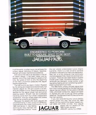 1983 Jaguar XJ6 White 4-door Vtg Print Ad