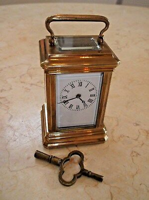 Miniature French 5 Bevelled Glass Carraige Clock In Very Good Condition +