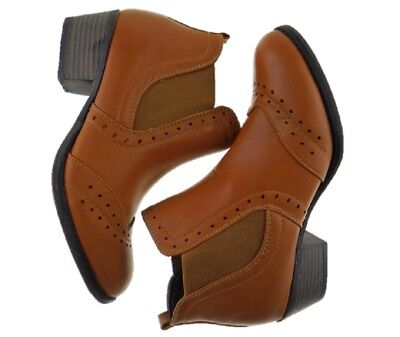 Ladies TAN Boot Faux Leather Ankle Boot Chelsea Boot Pull On Sizes UK 3 to UK 8